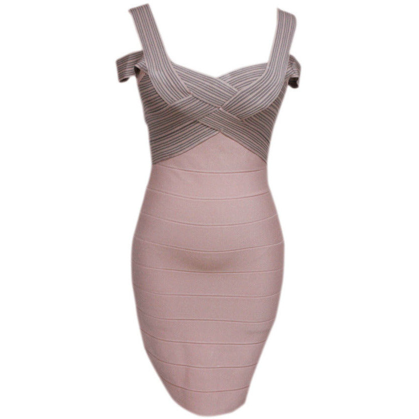 Dark Pink Weave Top Sexy Bandage Dress LAVELIQ  - LAVELIQ - 2