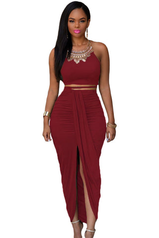 Faux Suede Two Piece Maxi Skirt Set LAVELIQ