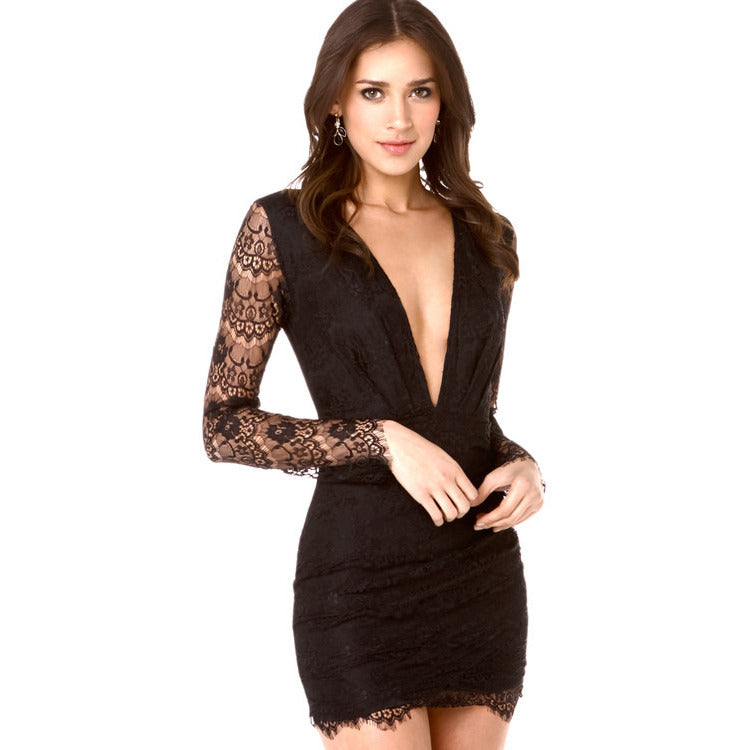 V-Neck Sleeve Lace Mini Dress Sale LAVELIQ - LAVELIQ - 1
