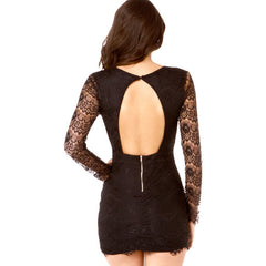 V-Neck Sleeve Lace Mini Dress Sale LAVELIQ - LAVELIQ - 3