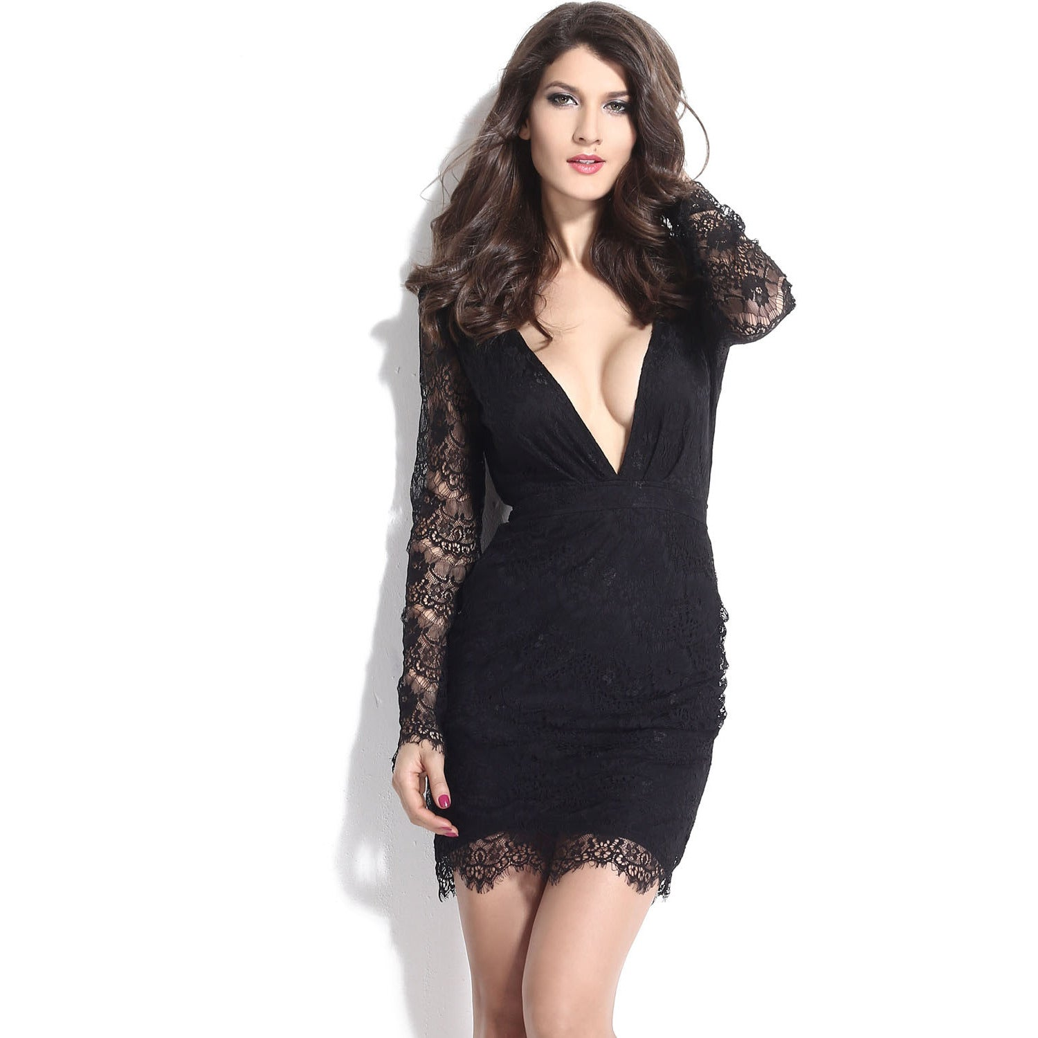 V-Neck Sleeve Lace Mini Dress Sale LAVELIQ - LAVELIQ - 4