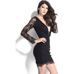V-Neck Sleeve Lace Mini Dress Sale LAVELIQ - LAVELIQ - 5