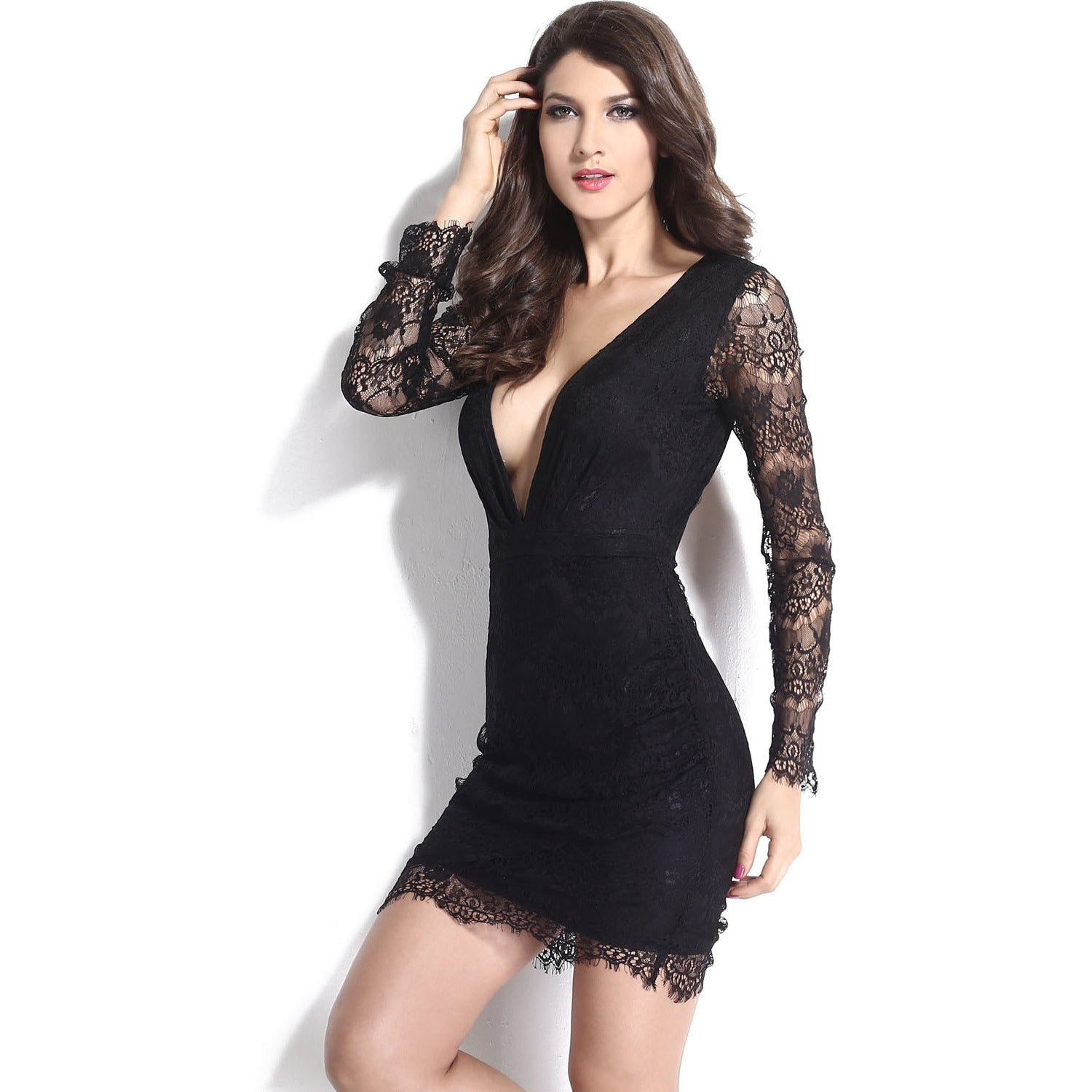 V-Neck Sleeve Lace Mini Dress Sale LAVELIQ - LAVELIQ - 6