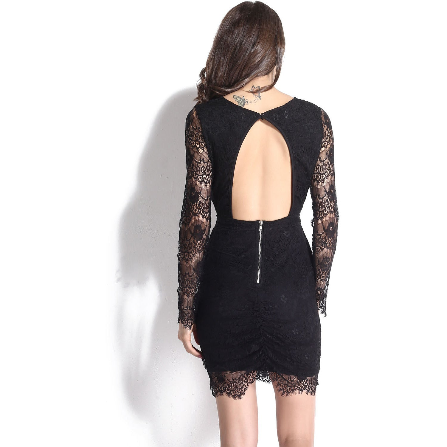 V-Neck Sleeve Lace Mini Dress Sale LAVELIQ - LAVELIQ - 7