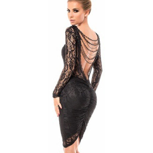 Black Chained Sexy Backless Midi Dress LAVELIQ - LAVELIQ - 1