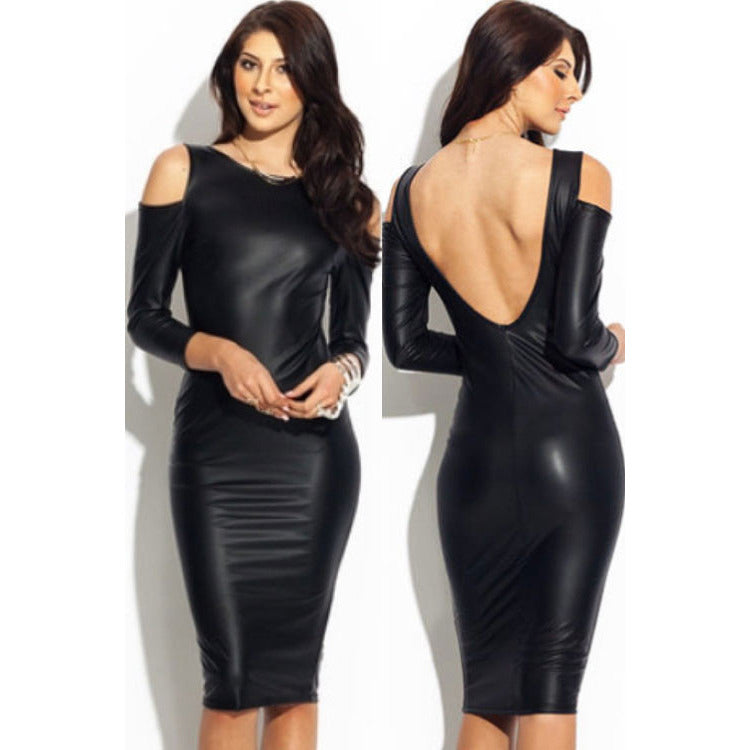 Drop Shoulder Leather Dress Sale LAVELIQ - LAVELIQ