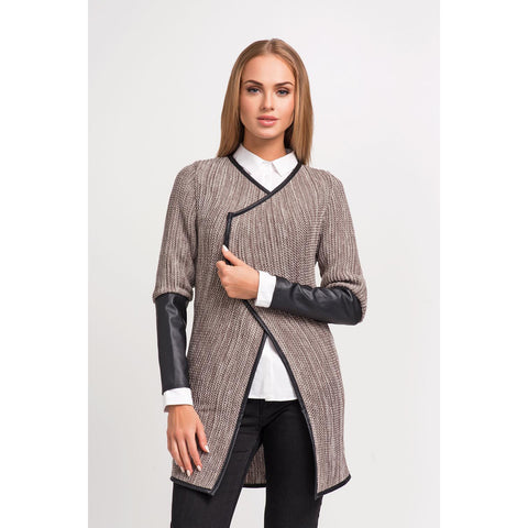 Cappuccino Cardigan With Eco-Leather Tubing And Sleeves LAVELIQ