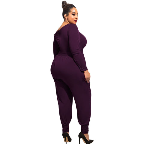Elegance Purple Off-Shoulder Long Sleeves Plumpy Plus Size Jumpsuit Sale LAVELIQ
