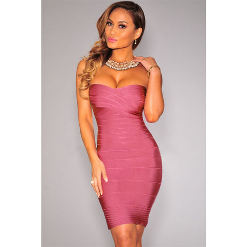 Elegant Bandage Dress In Dark Pink LAVELIQ  - LAVELIQ - 1