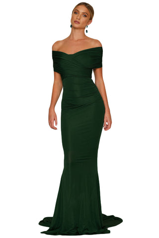 Green Emerald Mermaid Wedding Party Gown LAVELIQ