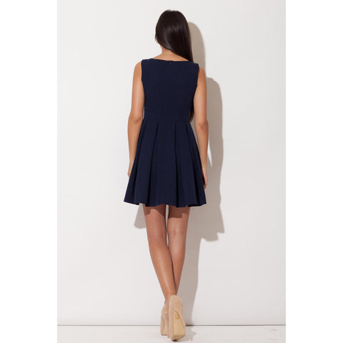 Blue Boat Neck With Back Zipping Layered Skirt LAVELIQ