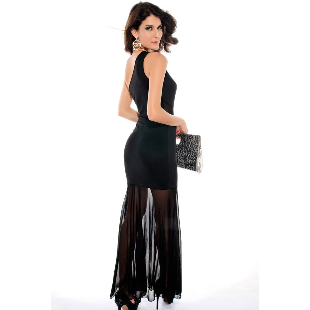Shoulder Mesh Fishtail Maxi Dress Sale LAVELIQ - LAVELIQ - 2