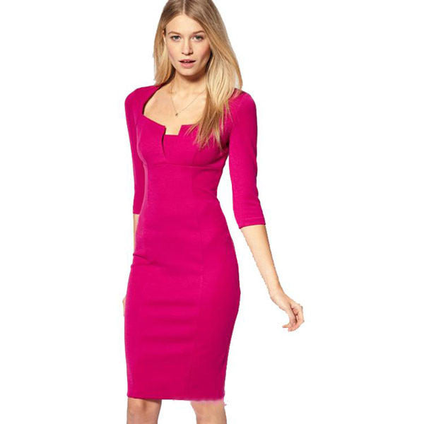 Neckline Rosy Pencil Dress LAVELIQ - LAVELIQ - 1