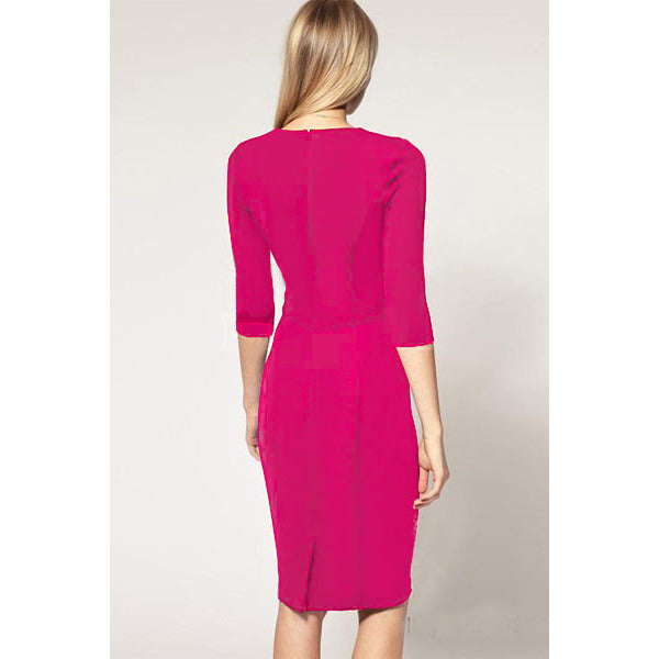 Neckline Rosy Pencil Dress LAVELIQ - LAVELIQ - 2