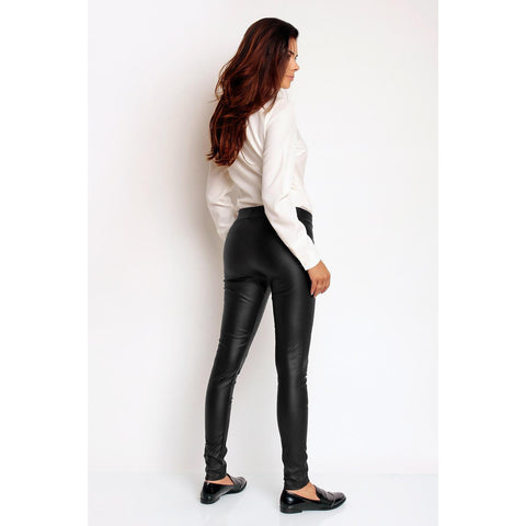 Black Fitted Artificial Leather Long Pants LAVELIQ