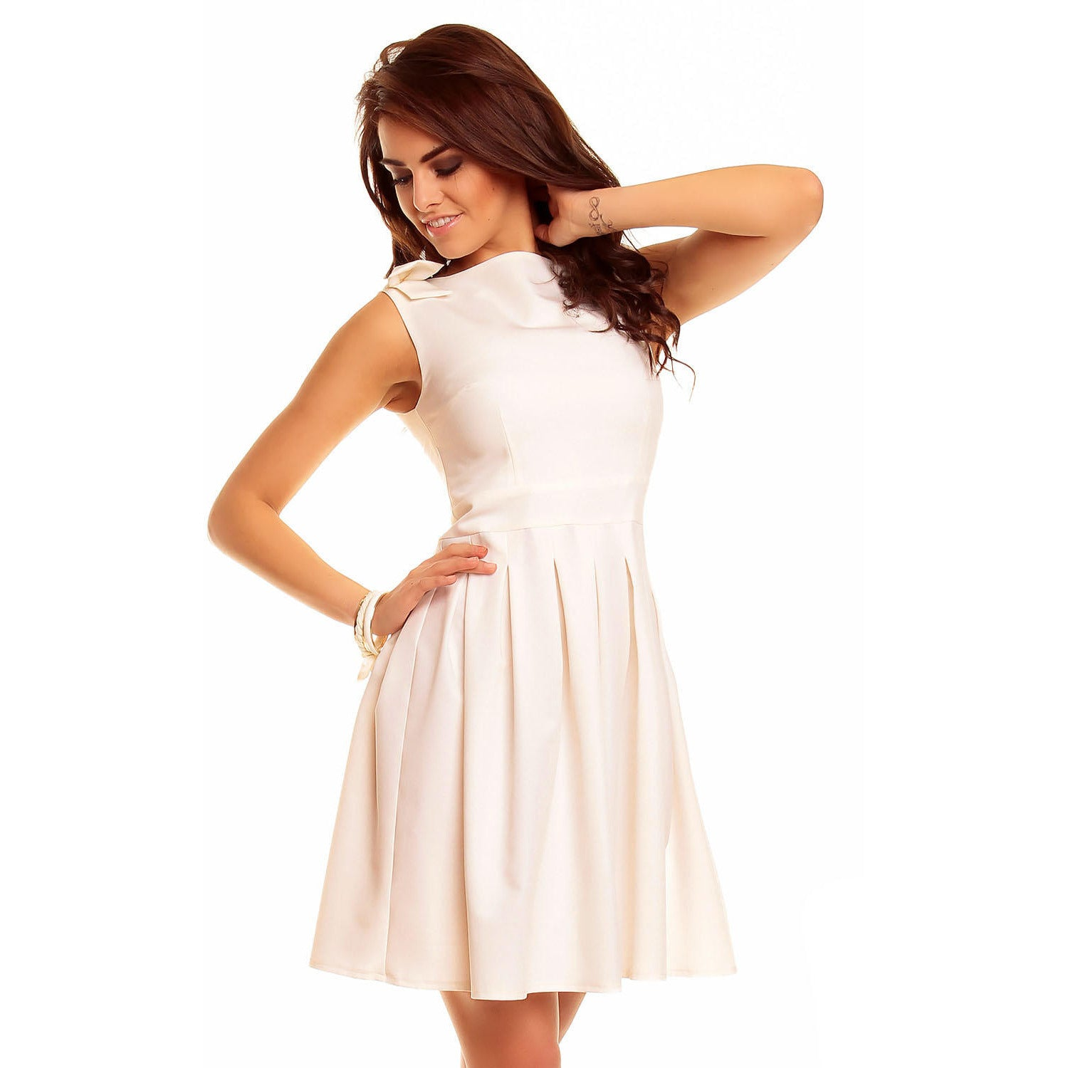 Creamy Flippy Dress With Bend Sleeveless Shoulder LAVELIQ - LAVELIQ - 1
