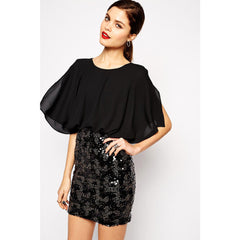 False Two-Piece Chiffon Sleeve Mini Dress LAVELIQ - LAVELIQ - 1