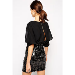 False Two-Piece Chiffon Sleeve Mini Dress LAVELIQ - LAVELIQ - 2