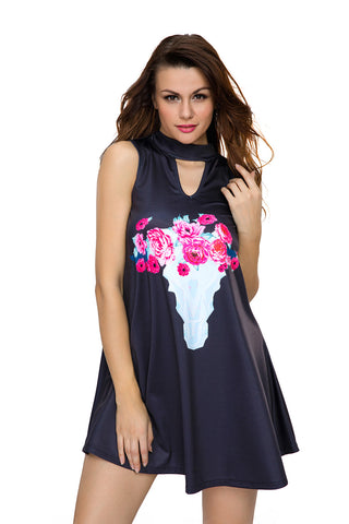 Floral Keyhole Front Casual Tank Dress LAVELIQ