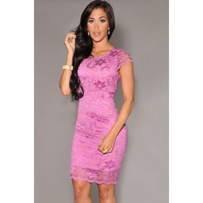 Enticing Lace Surface Backless Bodycon Dress With Lining Sale LAVELIQ - LAVELIQ - 2