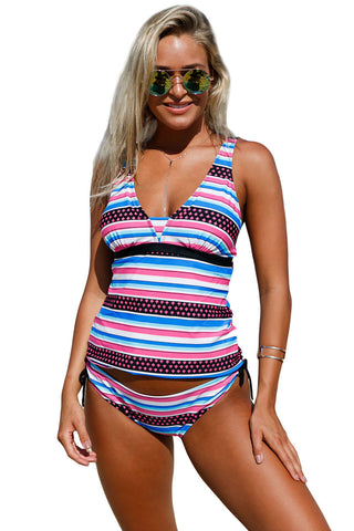 Girly Print Bandeau Tankini And Bikini Bottoms LAVELIQ