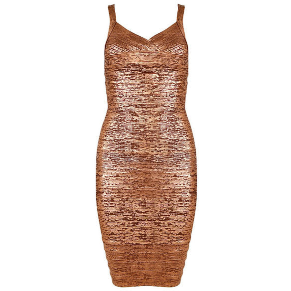 Gold Solid Bandage Dress LAVELIQ SALE - LAVELIQ - 3