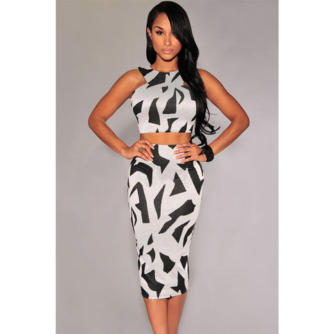 Gray Irregular Print Racer Back Skirt Set LAVELIQ