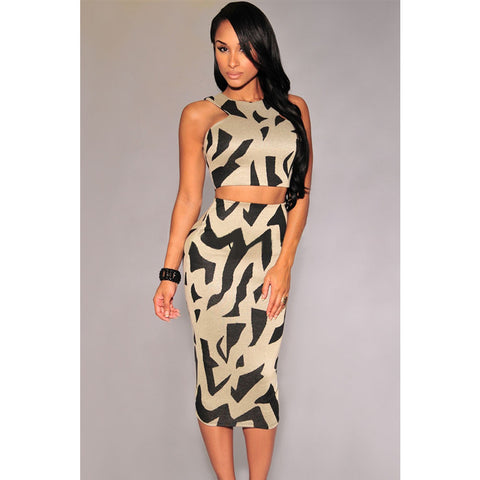 Gray Irregular Print Racer Back Skirt Set Sale LAVELIQ