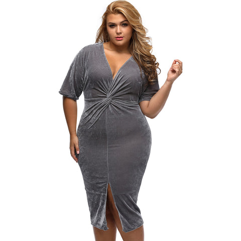 Gray Knotted Pleated Front Plus Size Midi Dress LAVELIQ