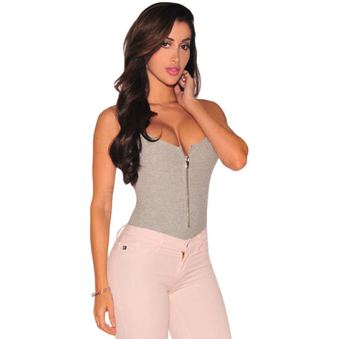 Gray Ribbed Zipper Bodysuit Sale LAVELIQ