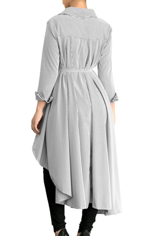Gray Striped High Low Belted Midi Dress LAVELIQ