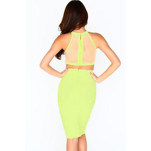 Green Strap Two-Piece Skirt Set LAVELIQ
