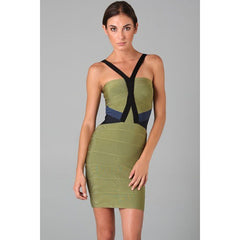 Green V Neck Bandage Dress LAVELIQ SALE - LAVELIQ - 1