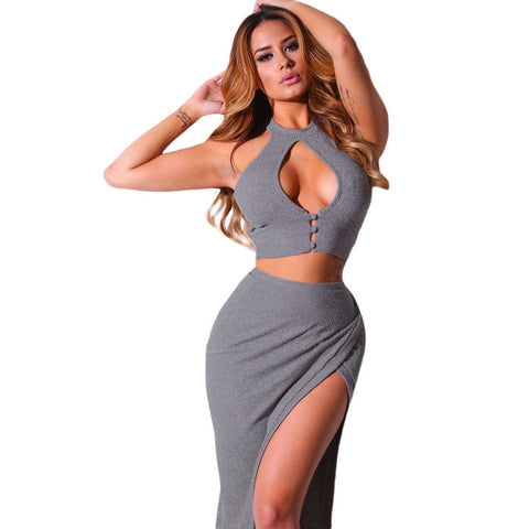 Grey Cutout Crop Top Midi Skirt Set LAVELIQ