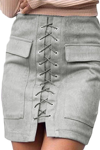 Grey Suede Lace Up Front Mini Skirt LAVELIQ