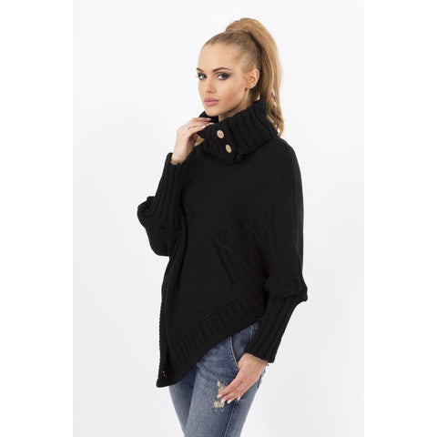 Black Loose Asymetrical Tourtleneck Sweater LAVELIQ