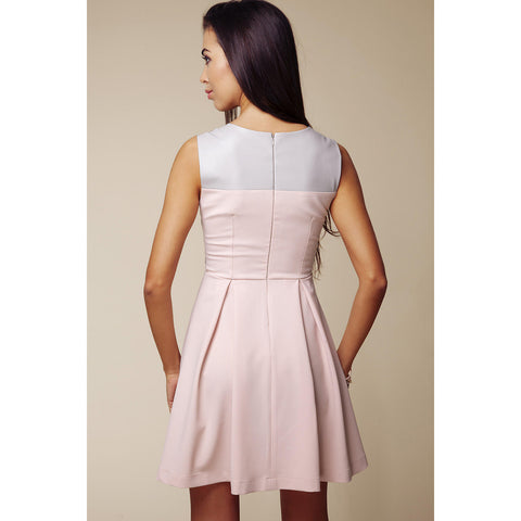 Grey - Pink Top Fancy Dress With Back Zipping LAVELIQ