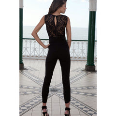 Heart-Neck Lace Black Jumpsuit LAVELIQ - LAVELIQ - 2