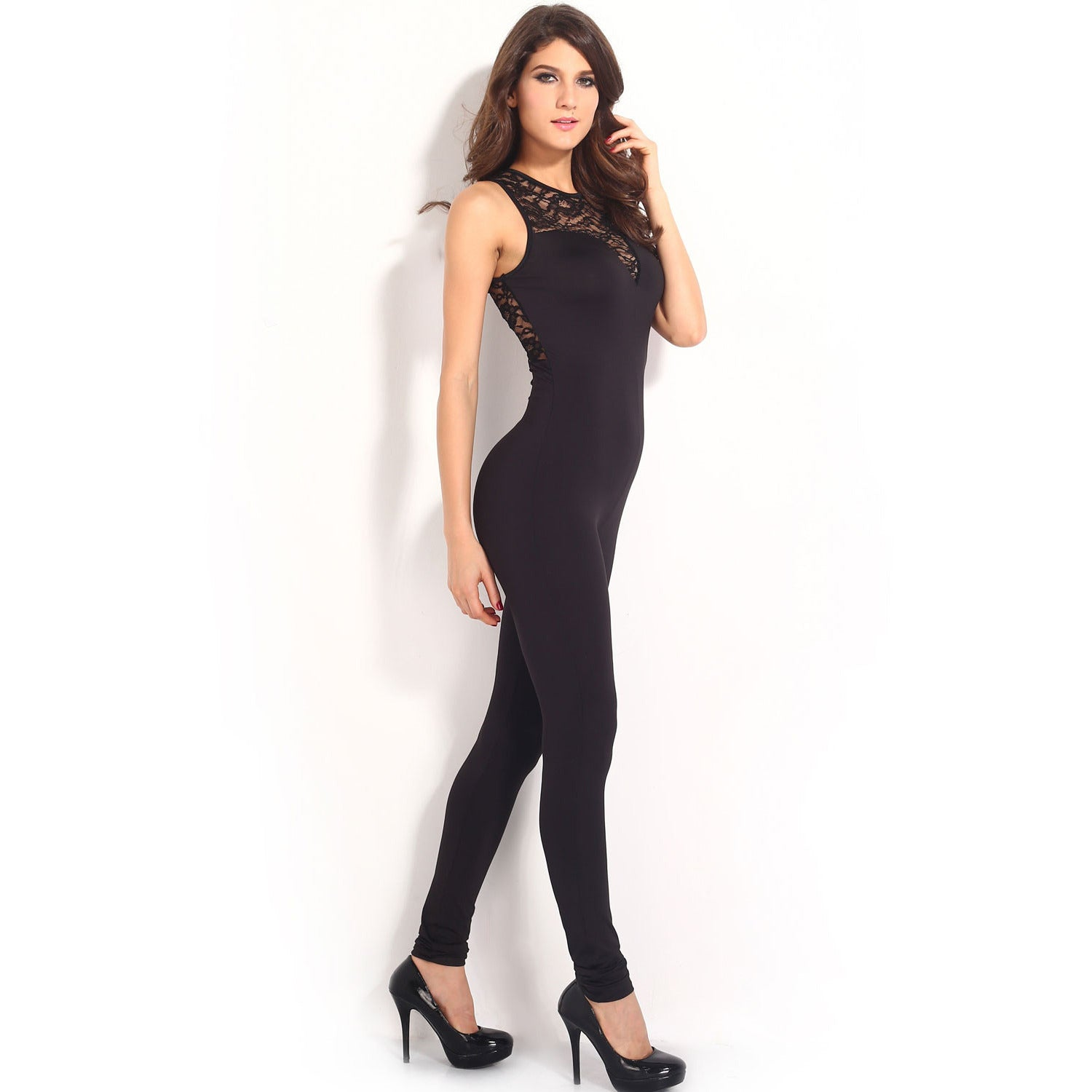 Heart-Neck Lace Black Jumpsuit LAVELIQ - LAVELIQ - 4
