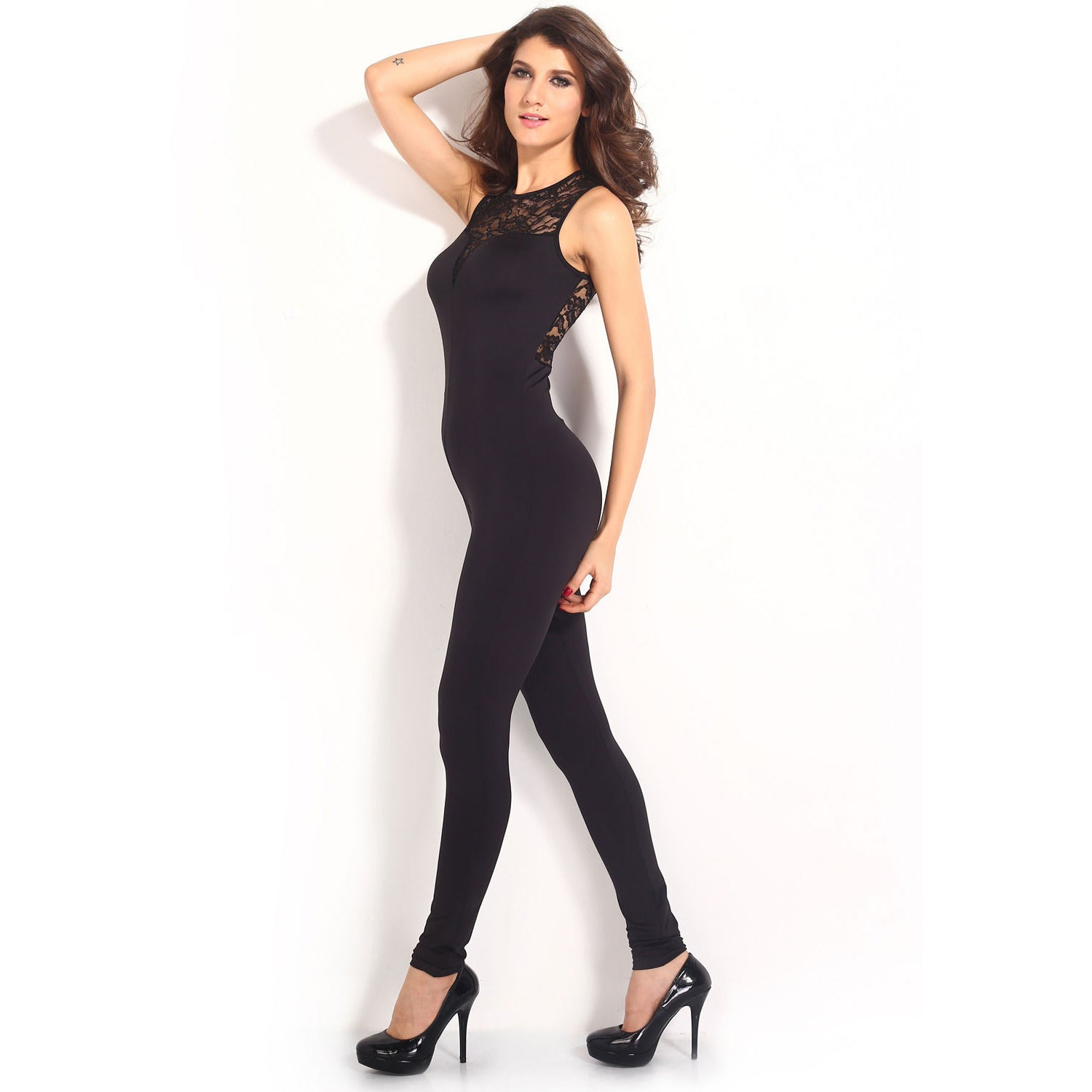 Heart-Neck Lace Black Jumpsuit LAVELIQ - LAVELIQ - 5