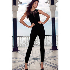 Heart-Neck Lace Black Jumpsuit LAVELIQ - LAVELIQ - 7