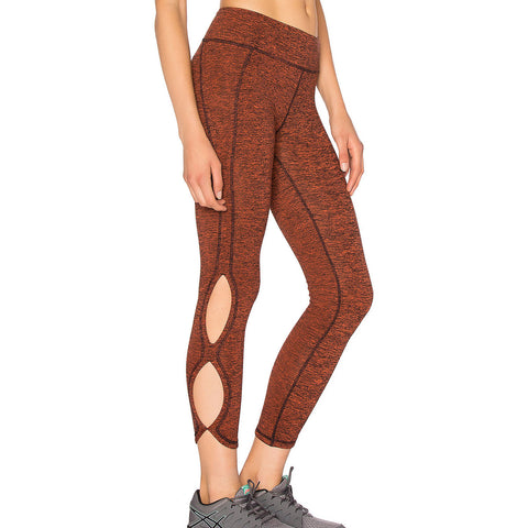 Brown Cutout Side Sports Leggings LAVELIQ
