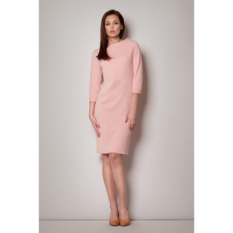 Light Pink High Collar Textured Swing Dress With 3/4 Sleeves LAVELIQ