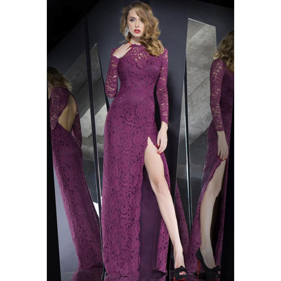 Lace Overlay Purple Maxi Dress LAVELIQ - LAVELIQ - 1