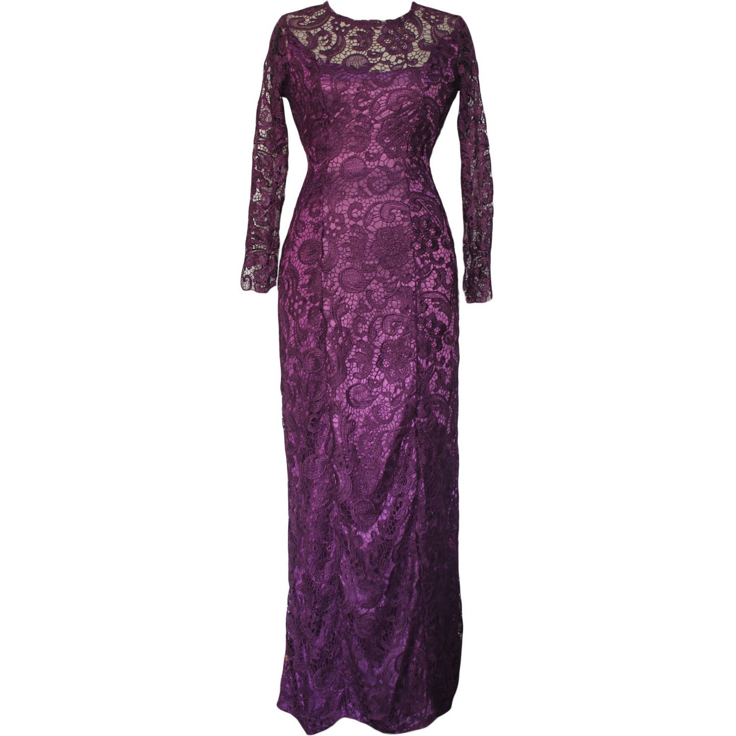 Lace Overlay Purple Maxi Dress LAVELIQ - LAVELIQ - 2