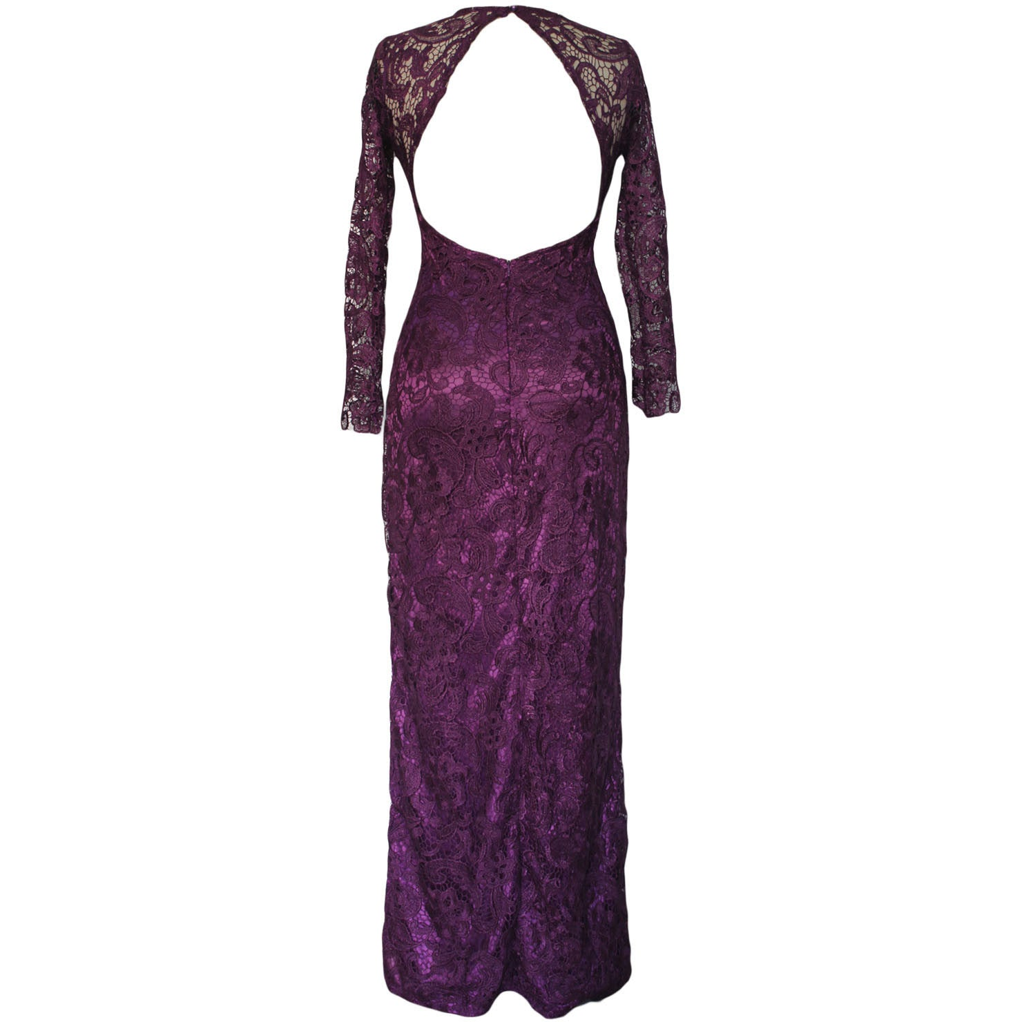 Lace Overlay Purple Maxi Dress LAVELIQ - LAVELIQ - 3
