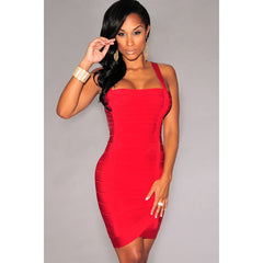 Red Double Straps Bandage Dress LAVELIQ SALE - LAVELIQ - 1