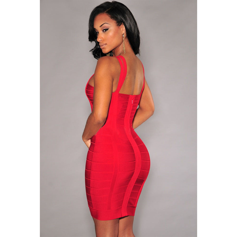 Red Double Straps Bandage Dress LAVELIQ SALE - LAVELIQ - 2