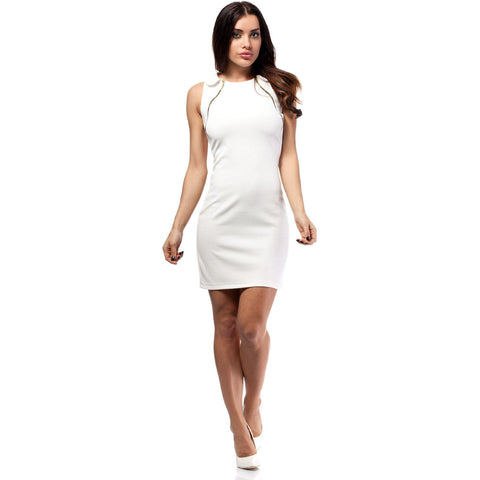 Off White Collar Swing Dress With Gold Zippers LAVELIQ