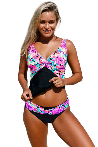 Kaleidoscope Insert Two Piece Tankini Swimsuit LAVELIQ
